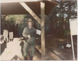 Me and my M16 in the waiting area before heading out to the rifle range at Fort McClellan, Alabama, Fall 1975. (For safety, no ammo until we got to the firing range)
