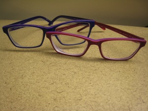 This is what purple and red glasses look like. Amazing I got this pic since I can't see without them!