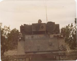 Gear up writers and authors! Protect your writing assets! (Me in an Armored Personnel Carrier (APC) back in my Army days - such a long story)