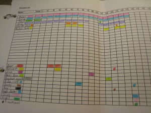 Fun with Excel, highlighters and crayons. One way to herd your fiction characters.