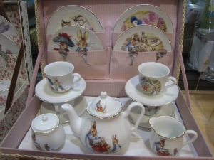 Knew you wanted to see the miniature Peter Rabbit tea set close up. It's bunny time!