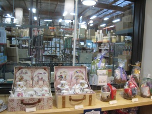Back by the miniature tea sets for sale, you can peek a look in the warehouse. Tea heaven!