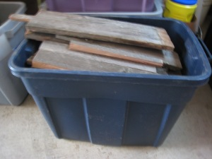 One bin of firewood cut to size, 5,864 to go. Give or take a few.