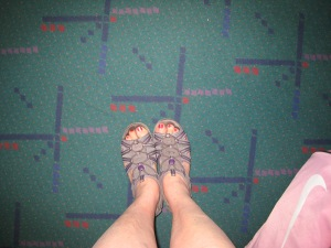 PDX carpet shoe and toe selfie arriving home from Maui!