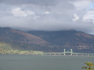 The rolling clouds, the Washington gorge hills, the bridge and the Columbia River; without ever leaving my car!
