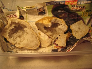 Geode tragedy. Special glue and determination will get me through. And leftover Halloween candy.
